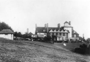 The South front of the house and Philip Webb's summer house