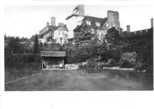 The summer house, when newly built, in its original position on the tennis court at the bottom of the steps